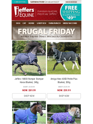 Jeffers Pet Supplies - 🐴 Equine Frugal Friday - One Day Sale!