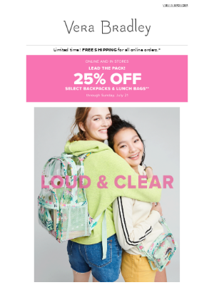 Better together: Save 25% on coordinating backpack and lunch styles!