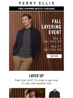 Perry Ellis - Warm Up With New Fall Arrivals: Up to 50% Off