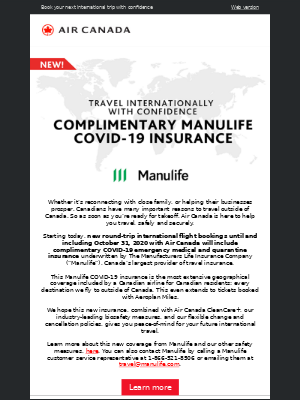Air Canada - New! Complimentary Manulife COVID-19 insurance