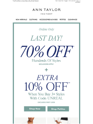 Last Day! 70% Off + Extra 10% Off