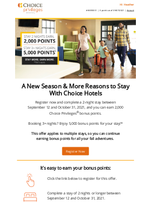Choice Hotels - Book Your Fall Travel Plans Now & Earn Up to 5,000 Points!