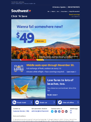 Southwest Airlines - $49 fares to a fall treat.
