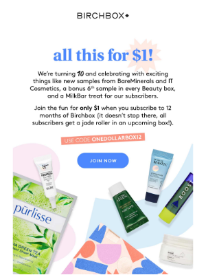 Birchbox USA - ONLY $1! Yes, you heard that right!