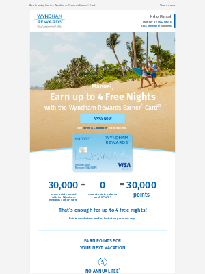 Wyndham Hotel Group - Earn 30,000 Bonus Points—that's up to 4 Free Nights!