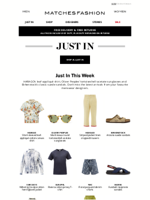 Matches Fashion (UK) - Just In: HARAGO, Oliver Peoples and Birkenstock
