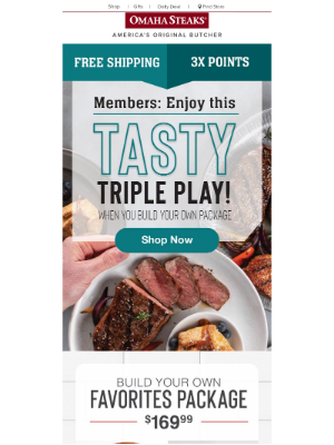 Omaha Steaks - Build your own menu, get 8 FREE burgers & 8 FREE desserts.