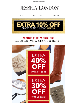 Jessica London - 🎄🎄More the Merrier | Extra 40% OFF Boots + Extra 10% OFF
