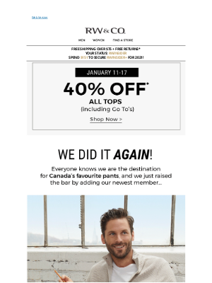 RW&CO. CA - 40% off your next FAVOURITE top