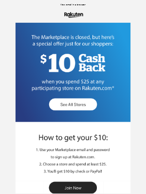 Rakuten - Spend $25 and Get $10 Cash Back at Rakuten.com