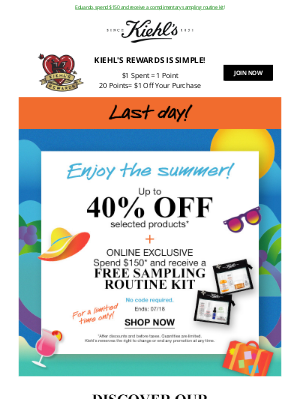 Kiehl's (CA) - ENDS TONIGHT! Up To 40% OFF Selected Products