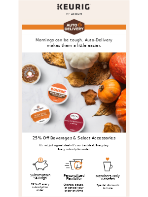 Keurig - Sign Up and Save 25% on Beverages