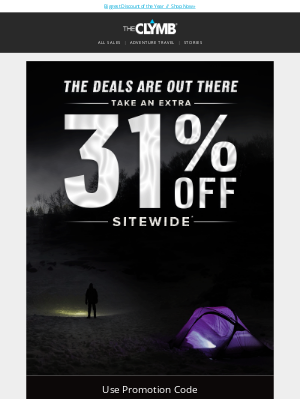 The Clymb - Take an Extra 31% Off Sitewide - Halloween Sale Starts Now