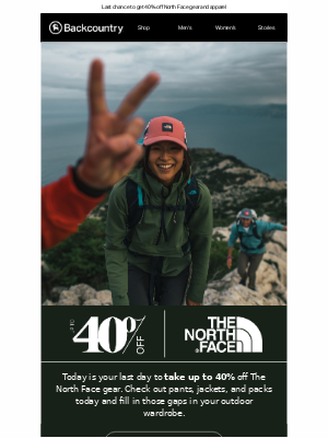 Last Day to Save on The North Face!