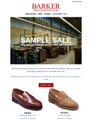 Barker Shoes (UK) - Barker Outlet Sample Sale Continues | 50% Off Samples & Factory Seconds | Available for a Limited Time Only