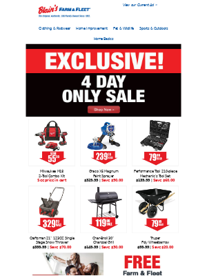 Blain's Farm and Fleet - Shop our Exclusive 4-Day Only Sale ☆ Going on Now!