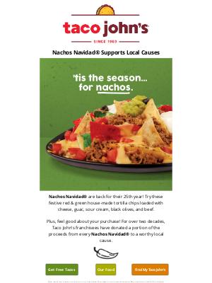 Taco John's - Nachos Navidad® Taste Good & Give Back
