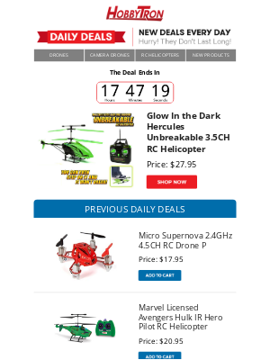 HobbyTron - $27.95 - Glow In the Dark Hercules Unbreakable 3.5CH RC Helicopter