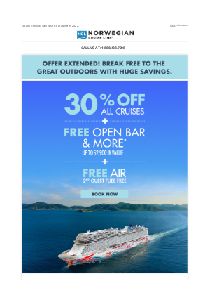 Norwegian Cruise Line - Extended For You: 30% Off + FREE Air & More.