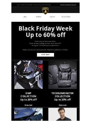 Lamborghini - Up to 60% off: your Black Friday starts today!