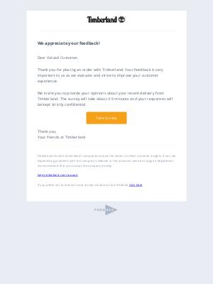 Timberland - Reminder - We appreciate your feedback!