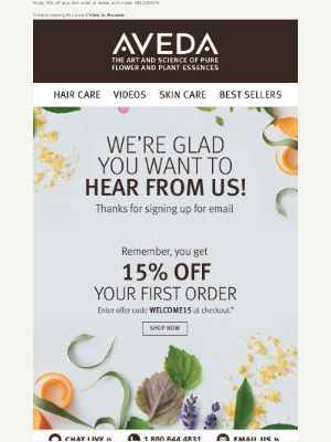 Aveda - 15% OFF your first order is waiting for you!
