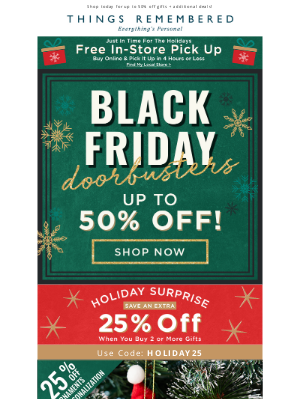 Things Remembered - Black Friday Deal - Up to 50% Off!