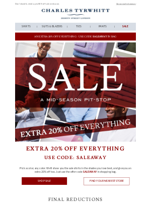 Charles Tyrwhitt - Sale shirts in every shade - now from $23.80