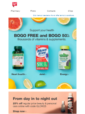 Stay healthy & save money with BOGO FREE & 50% off vitamins!