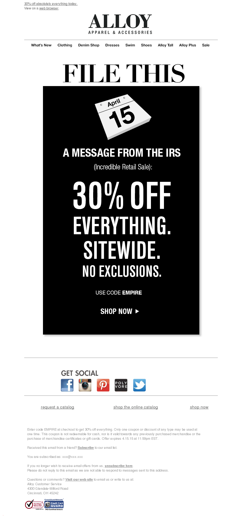 Alloy Apparel - A Message From The IRS (Incredible Retail Sale)...