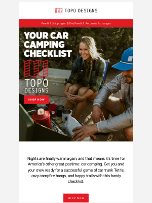 Topo Designs - Your Car Camping Checklist