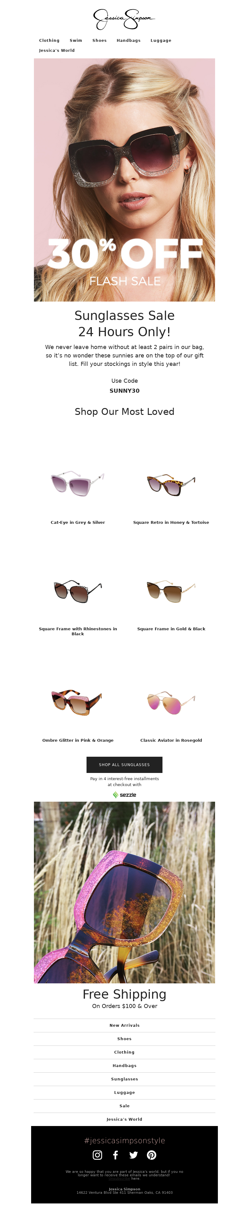 Discount email example from Jessica Simpson Sunglasses