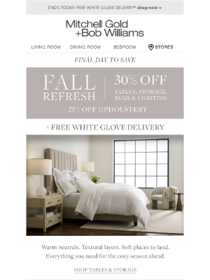MGBWhome - ENDS TODAY: FREE White Glove Delivery + 30% off