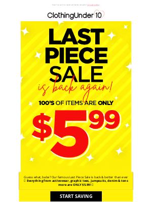 ClothinguUnder10 - 👉$5.99 Last piece sale is back 🤑