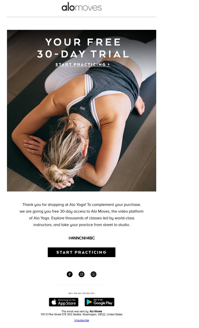 Yoga email example idea