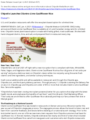 Chipotle Mexican Grill - Chipotle Launches Cilantro-Lime Cauliflower Rice