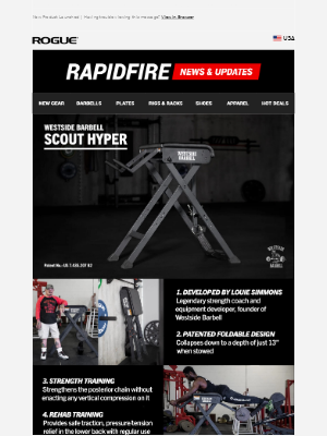Rogue Fitness - Just Launched: Westside Scout Hyper - Folding Reverse Hyper Machine!