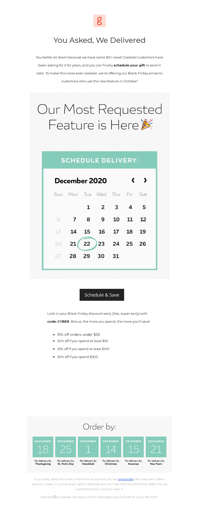 Greetabl - Want to Schedule Your Order? Now You Can! 🎉
