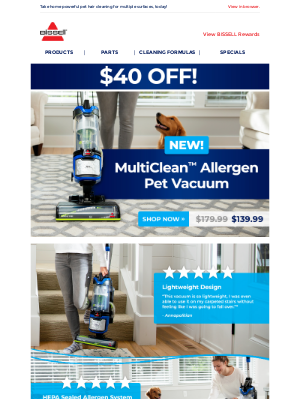 BISSELL - SAVE NOW! $40 OFF our newest vacuum for pet parents.