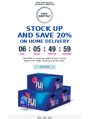 FIJI Water - Limited-time offer: Save 20% on two or more cases