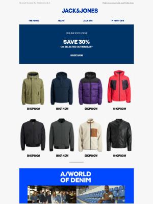 Jack & Jones (UK) - Get 30% off selected outerwear