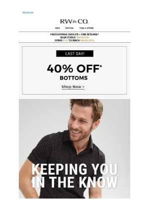 RW&CO. CA - Time is running out... Get 40% off bottoms