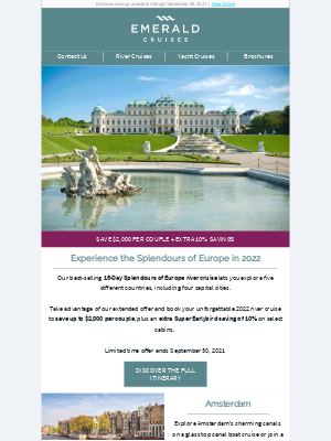 Emerald Waterways - Now Extended - Save up to $2,000 per couple on 2022 European river cruises
