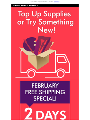 Curry's Art Store (CA) - Free Shipping Special Ends Tomorrow!