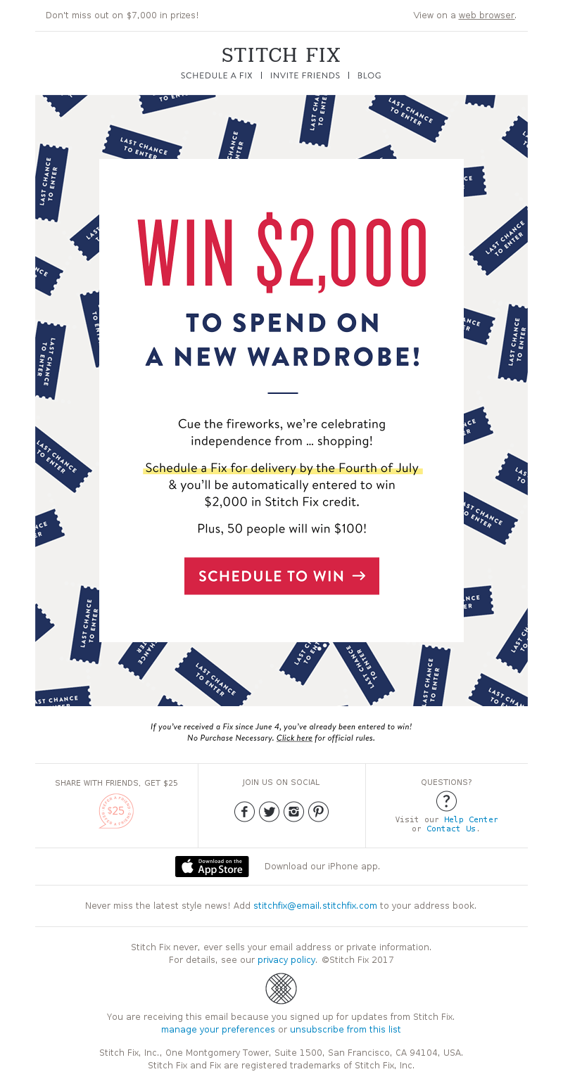 Don't miss out on $7,000 in prizes! View on a webbrowser. STITCH FIX SCHED