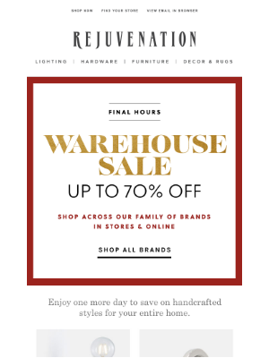 Rejuvenation - Final hours to shop our entire family of brands—save on lighting, decor & more