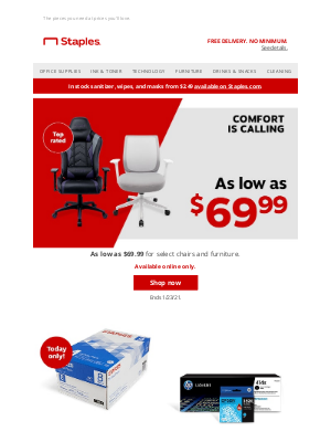 Staples - Shake up your setup for as little as $69.99.