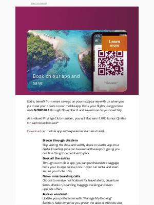 Qatar Airways - Eddie, book on our app and save