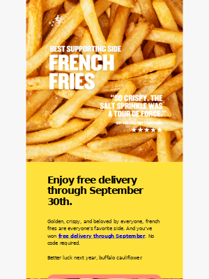 Free delivery through September 30th.