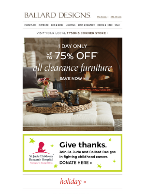 Ballard Designs - One Day Only: Up to 75% Off All Clearance Furniture!